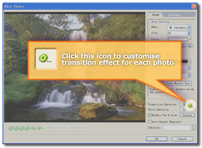 screenshot of how to customize slideshow transition effects