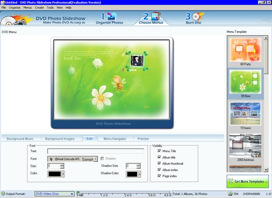 Click to view DVD slideshow builder Professional 8.00 screenshot
